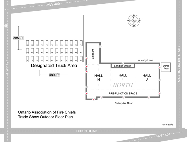 Events ontario association of fire chiefs for Trade show floor plan
