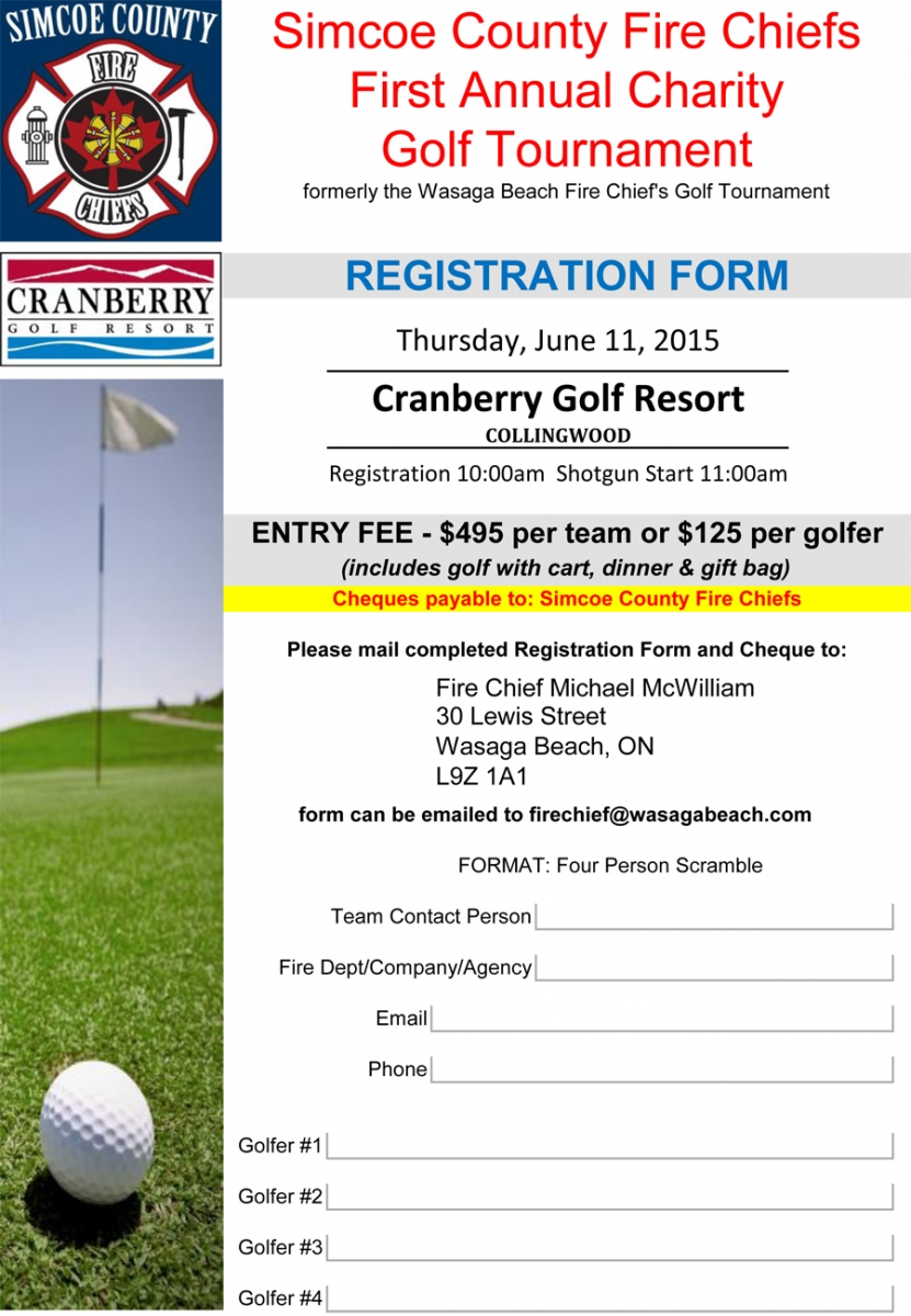 Simcoe County Fire Chiefs First Annual Charity Golf Tournament